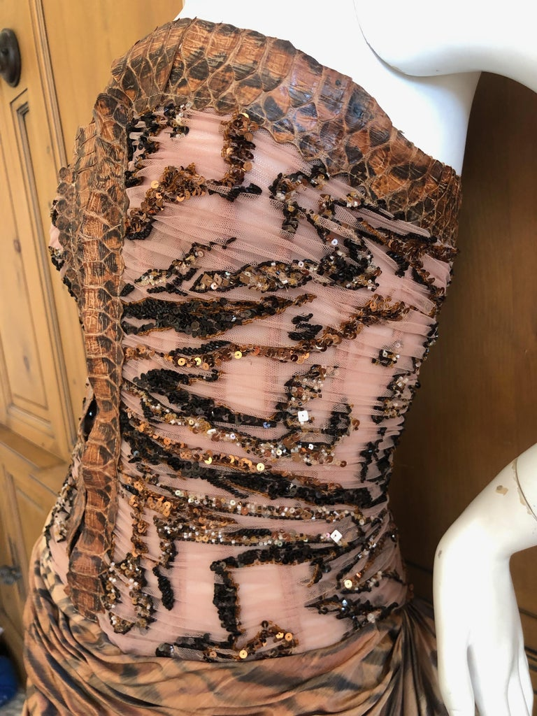 Zuhair Murad Haute Couture VIntage Tiger Print Silk Evening Gown w Inner Corset 4