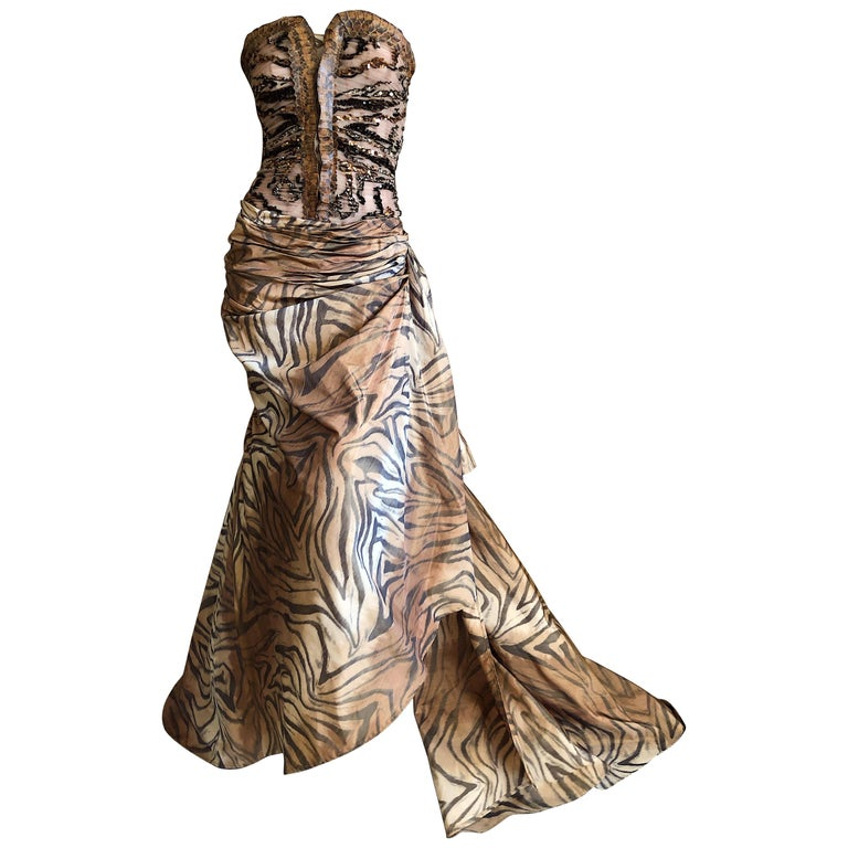 Zuhair Murad Haute Couture VIntage Tiger Print Silk Evening Gown w Inner Corset