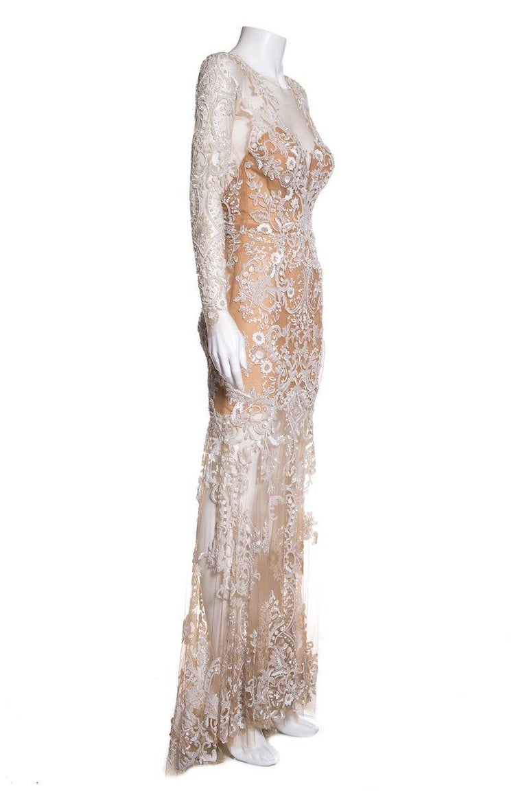 Beige ZUHAIR MURAD  Nude Mesh & Sequin Embellished Gown SZ 4 For Sale