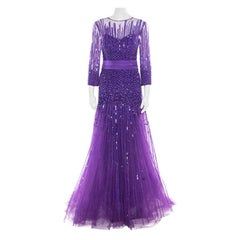 Zuhair Murad Purple Sequin Embellished Mesh Tulle Bottom Long Sleeve Gown L