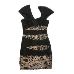 ZUHAIR MURAD Short Cocktail Dress in Black and Beige Silk and Polyamide Size 38