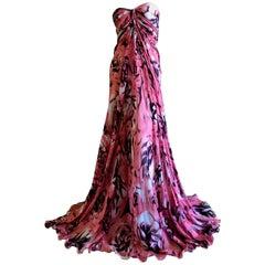Zuhair Murad Stunning Summer Soiree Strapless Floral Silk Evening Dress New Tags