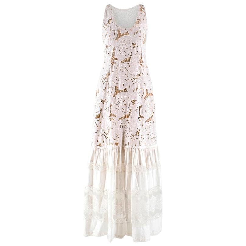Zuhair Murad White Brorderie Anglaise Dress - Size XS