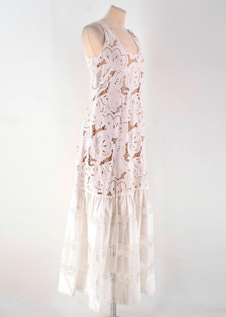 9986f6f5956 Zuhair Murad White Dropped Waist Dress -Lace maxi dress with dropped waist  -Sheer lace