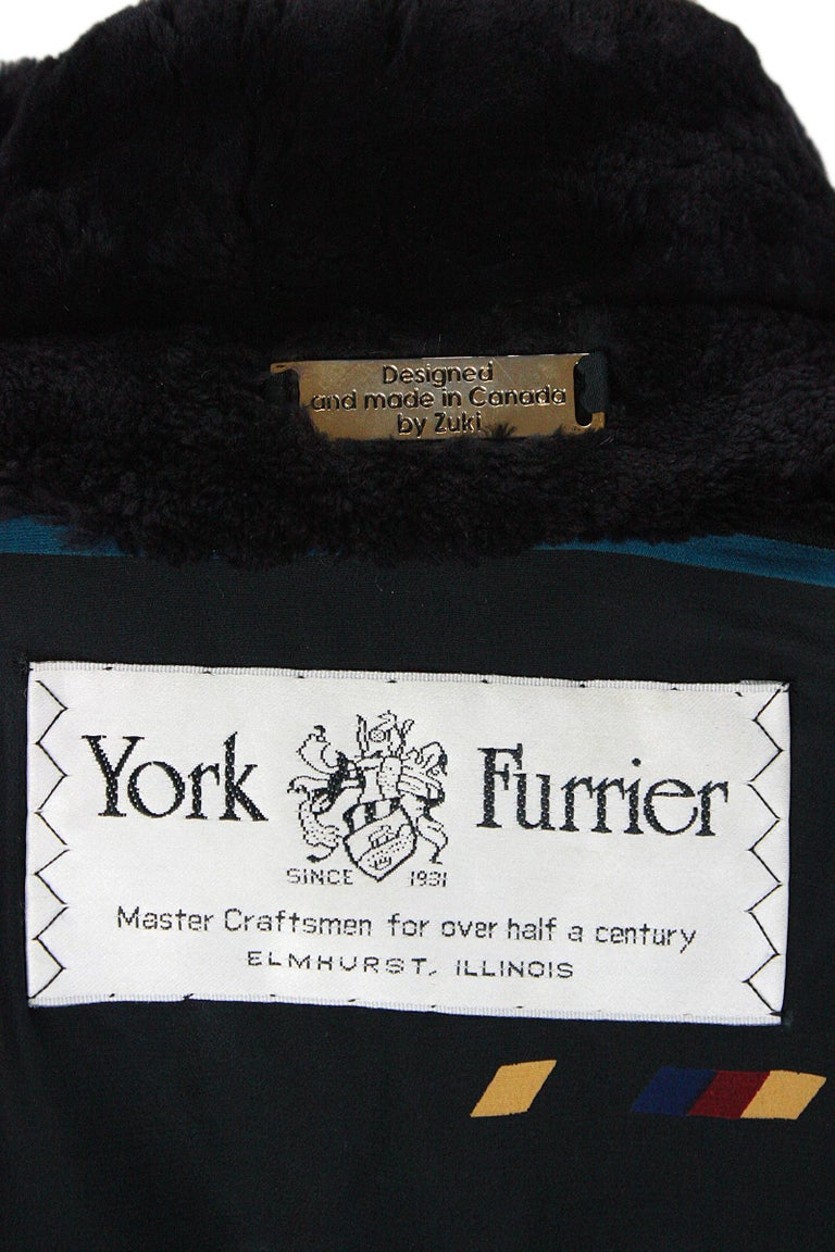 Zuki Black with Multicolor Line Pattern Sheared Beaver Fur Coat For Sale 6