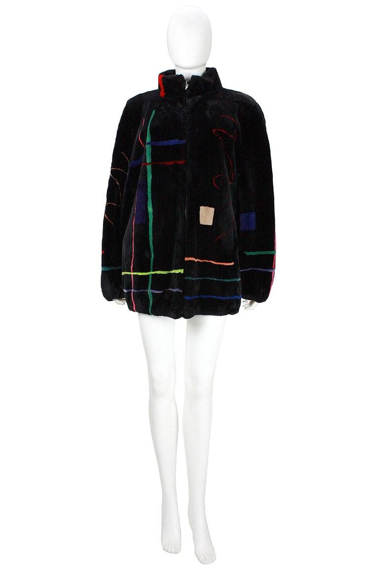 Zuki Black with Multicolor Line Pattern Sheared Beaver Fur Coat For Sale 7