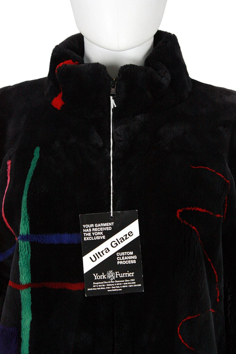Zuki Black with Multicolor Line Pattern Sheared Beaver Fur Coat In Good Condition For Sale In Los Angeles, CA