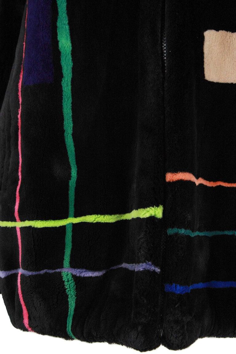 Women's Zuki Black with Multicolor Line Pattern Sheared Beaver Fur Coat For Sale