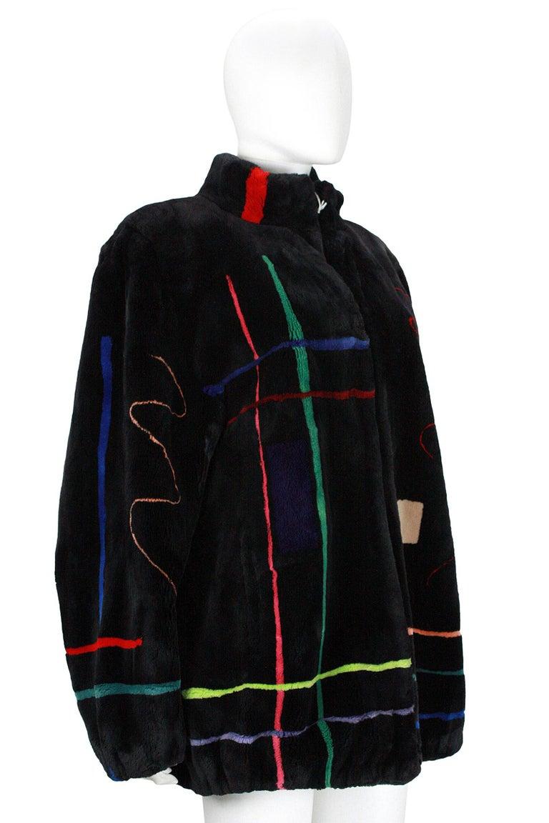 Zuki Black with Multicolor Line Pattern Sheared Beaver Fur Coat For Sale 1