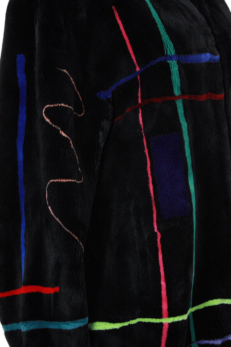 Zuki Black with Multicolor Line Pattern Sheared Beaver Fur Coat For Sale 2