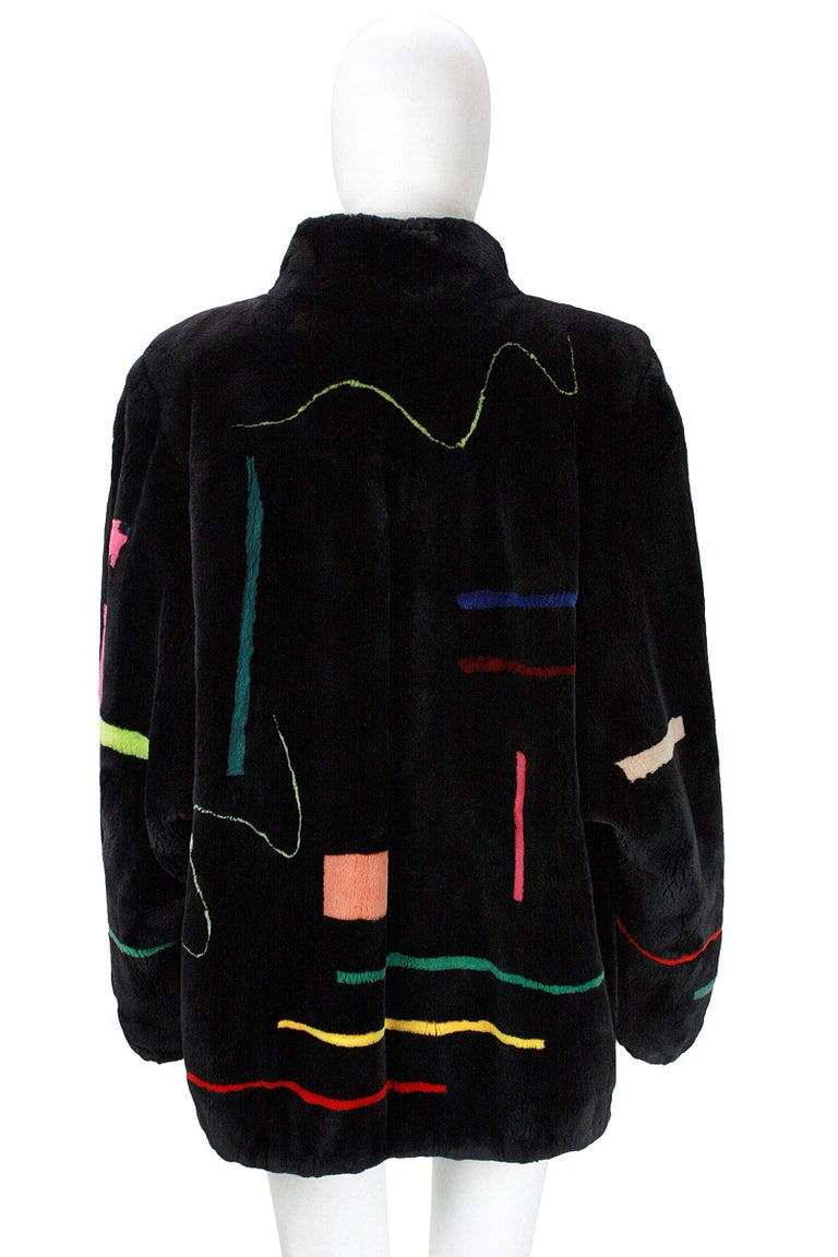 Zuki Black with Multicolor Line Pattern Sheared Beaver Fur Coat For Sale 4