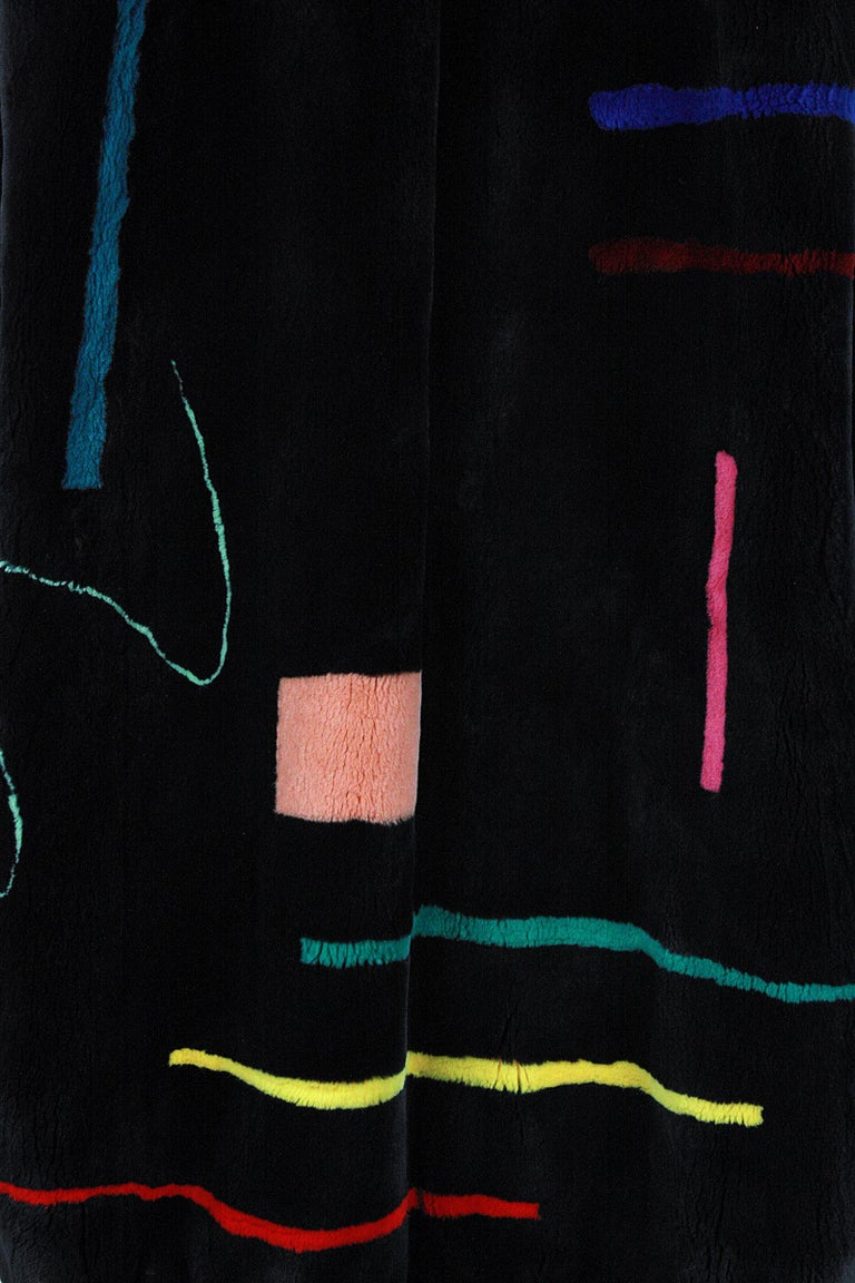 Zuki Black with Multicolor Line Pattern Sheared Beaver Fur Coat For Sale 5