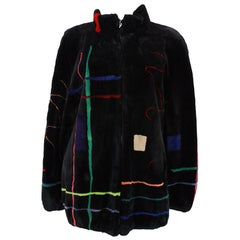 Zuki Black with Multicolor Line Pattern Sheared Beaver Fur Coat