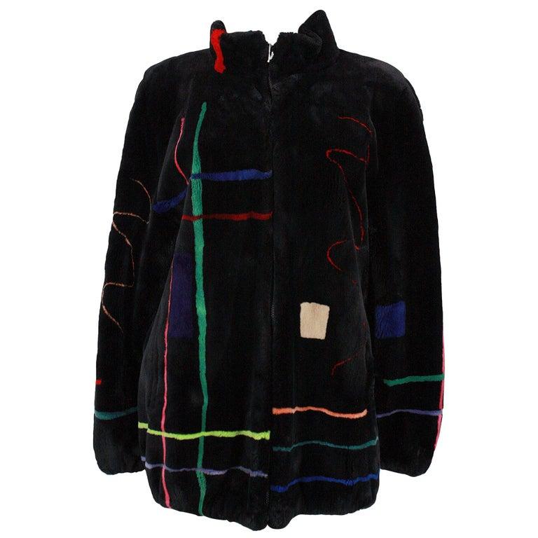 Zuki Black with Multicolor Line Pattern Sheared Beaver Fur Coat For Sale