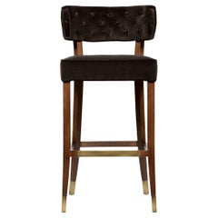 Zulu Bar Chair in Cotton Velvet and Aged Brass Details