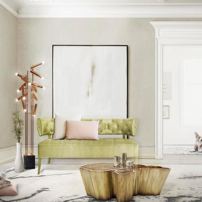 Zulu Sofa in Cotton Velvet and Fully Upholstered Legs For Sale 2