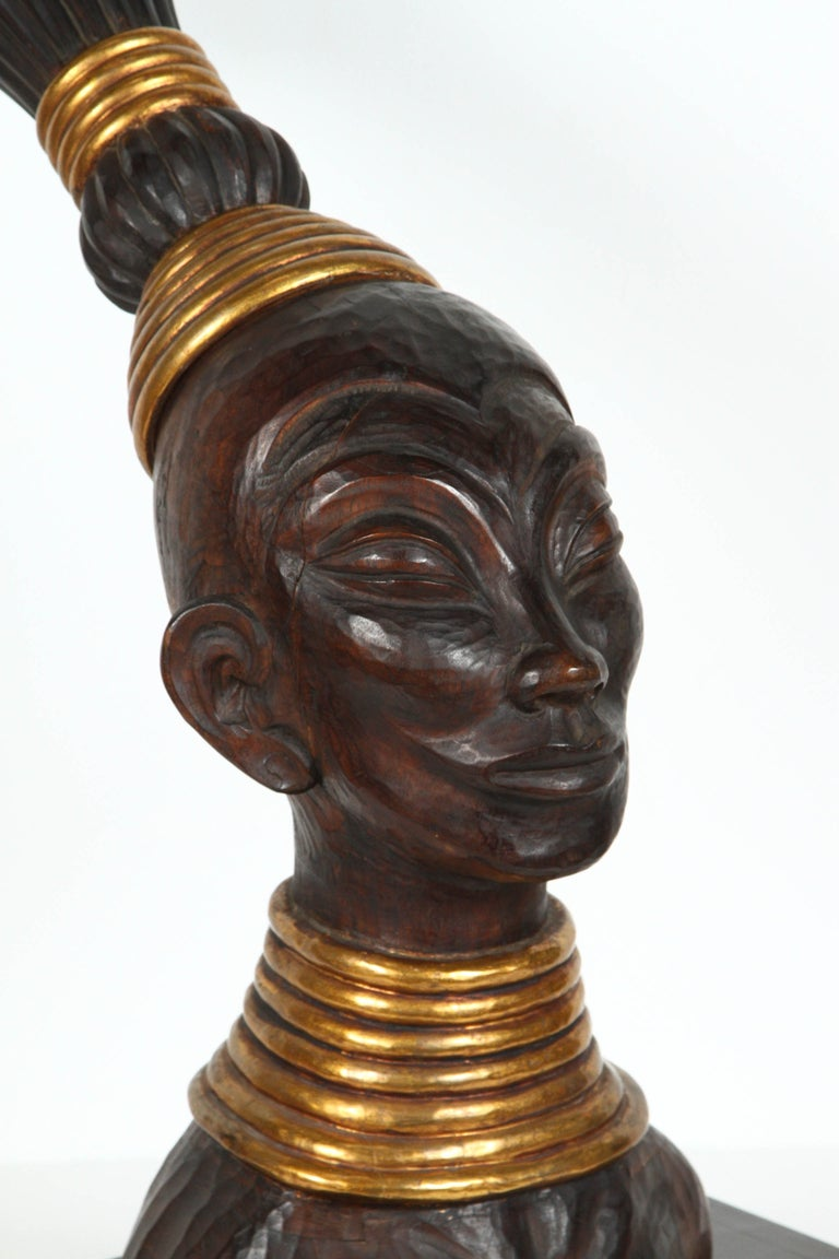 Hand carved tribal wooden Zulu African head, very nicely carved with gold embellished jewelry and traditional hair style and gold head dress. Large contemporary bust sculpture 30