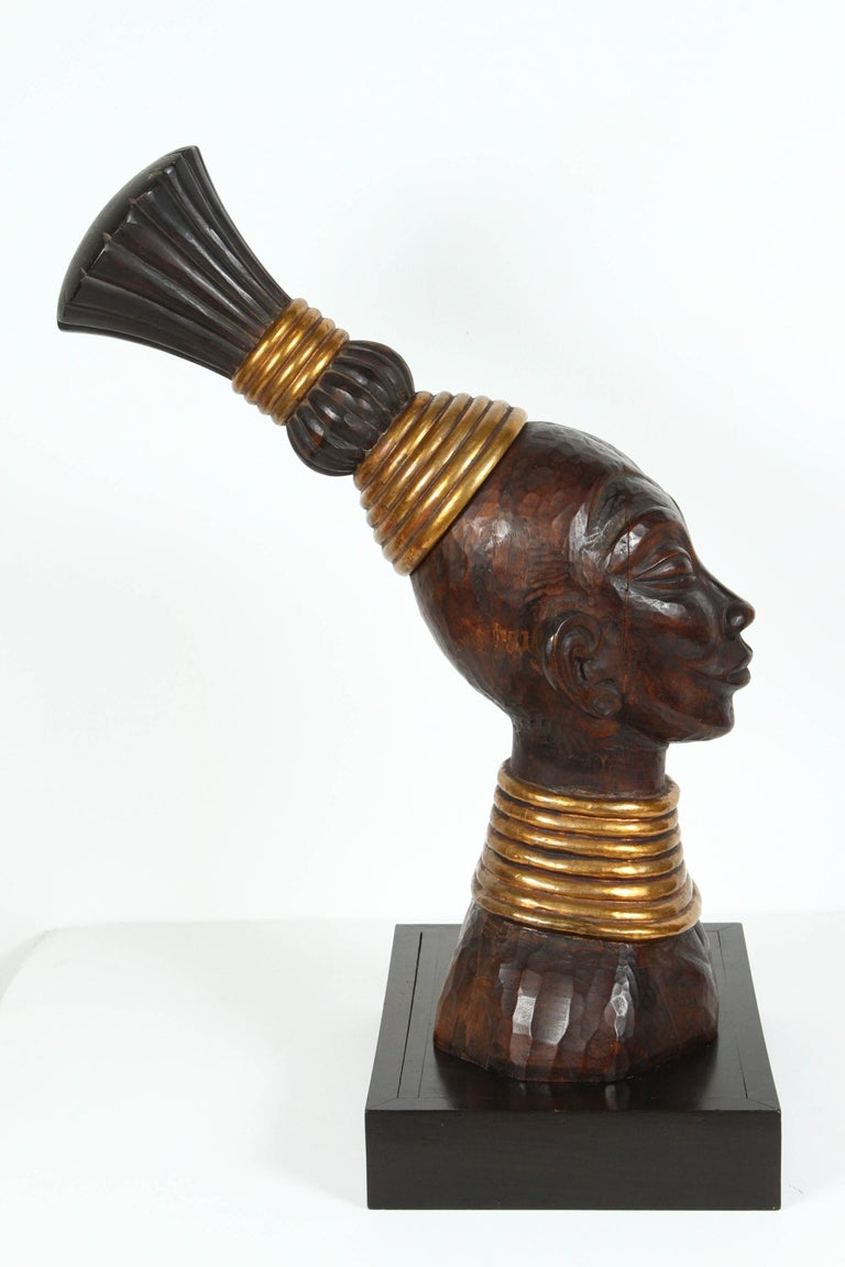 South African Zulu Wooden Tribal Contemporary Sculpture of Black African Bust For Sale