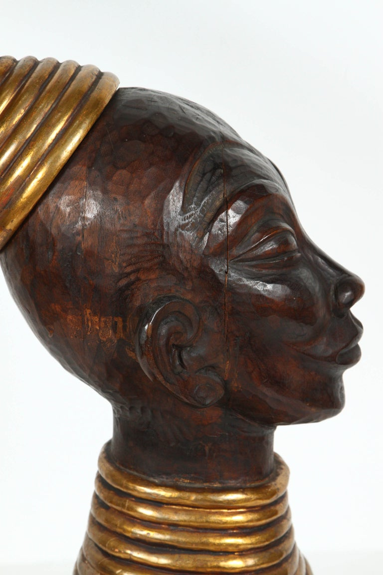 Hand-Carved Zulu Wooden Tribal Contemporary Sculpture of Black African Bust For Sale