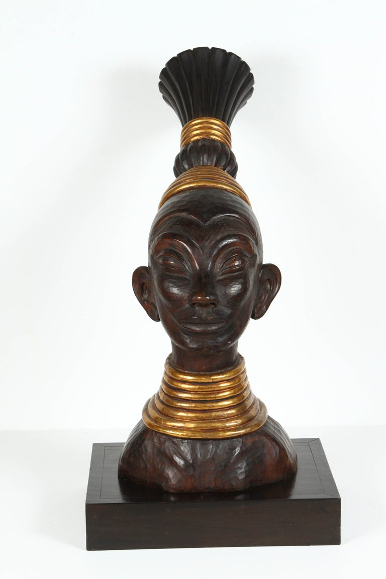 20th Century Zulu Wooden Tribal Contemporary Sculpture of Black African Bust For Sale