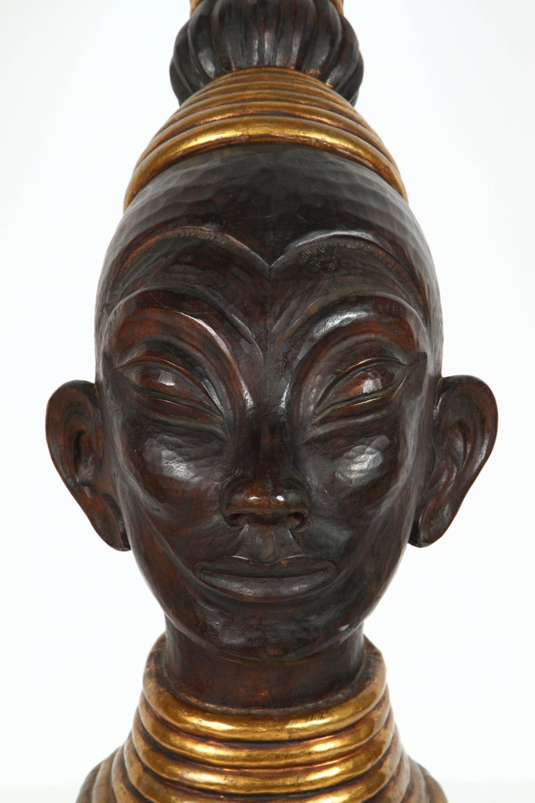 Zulu Wooden Tribal Contemporary Sculpture of Black African Bust For Sale 1