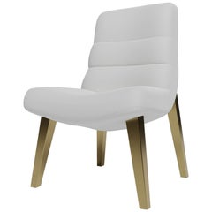 ZUMA DINING CHAIR - Modern Design in Lealpell Leather with Metallic Legs