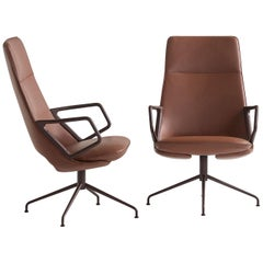 Zuma Swivel high back w Desk Armchair in Leather by Patrick Norguet