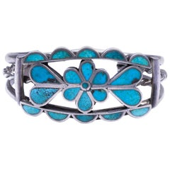 Zuni Cerrios Turquoise Flower Petal Bracelet