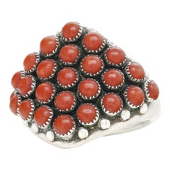 Zuni Coral and Sterling Ring