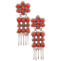 Zuni Coral Drop Earrings