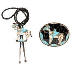 Zuni Horse Bolo and Buckle Set by Helen Lincoln