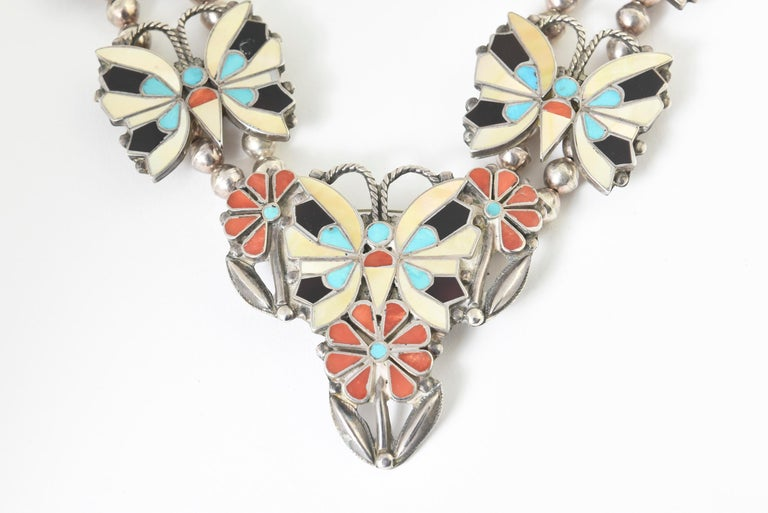 Zuni Inlaid Butterfly Squash Blossom Necklace and Bracelet by Rosita Wallace For Sale 5