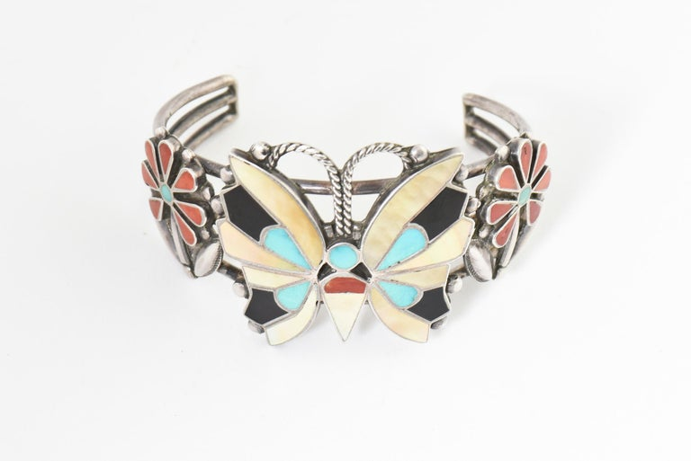 Native American Zuni Inlaid Butterfly Squash Blossom Necklace and Bracelet by Rosita Wallace For Sale
