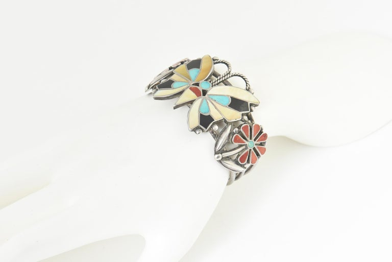 Women's or Men's Zuni Inlaid Butterfly Squash Blossom Necklace and Bracelet by Rosita Wallace For Sale