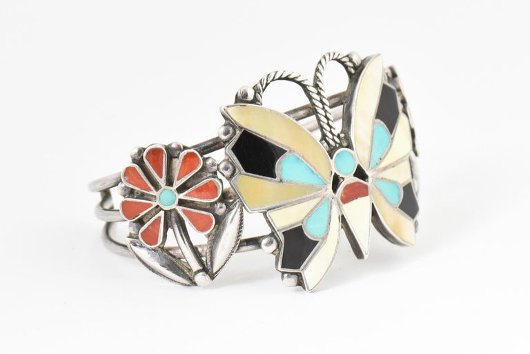 Zuni Inlaid Butterfly Squash Blossom Necklace and Bracelet by Rosita Wallace For Sale 3
