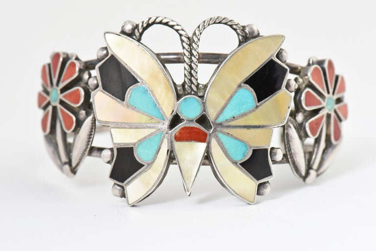Zuni Inlaid Butterfly Squash Blossom Necklace and Bracelet by Rosita Wallace For Sale 4