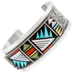 Zuni Inlaid Multi-Stone Sterling Cuff Bracelet