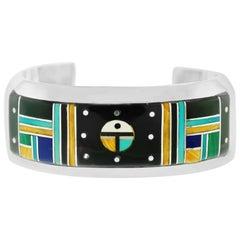 Zuni Inlaid Night Sky Cuff Sterling Bracelet