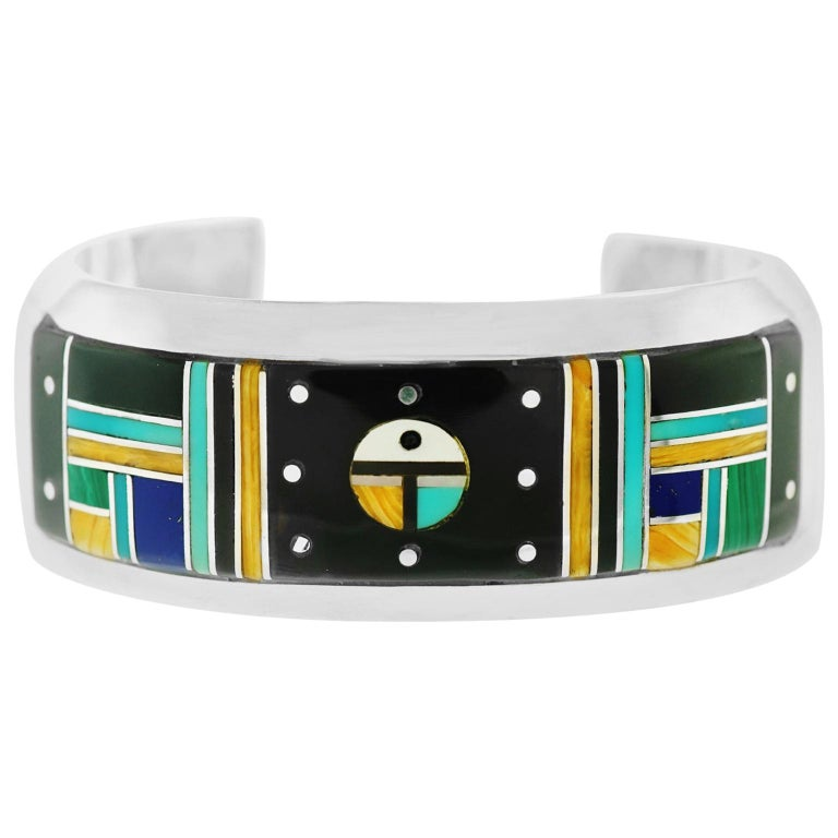 Zuni Inlaid Night Sky Cuff Sterling Bracelet For Sale