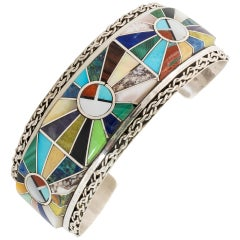 Zuni Inlaid Stones and Sterling Silver Bracelet