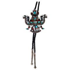 Zuni Inlay Large Knife Dancer Bolo, Vintage