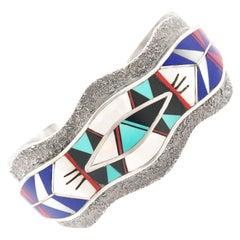 Zuni Modernist Inlaid Stone Cuff Bracelet