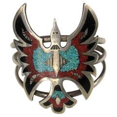 Zuni Native American Matrix Turquoise Coral Inlay Sterling Silver Cuff Bracelet