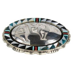 ZUNI Native American Sterling Silver Bear Inlaid Coral & Turquoise Pendant Pin