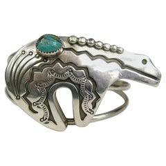 Zuni Native American Sterling Silver Turquoise Bear Cuff Bracelet