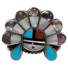 Zuni Native American Sun Face Ring, Turquoise, Coral, Abalone Ring Size US 5