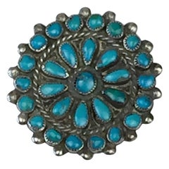 Zuni Navajo Silver and Turquoise Brooch