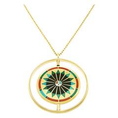 Zuni Rainbow Man / Sunface Gold Spinner Pendant