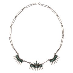 Zuni Silver and Turquoise Needlepoint Chain Link Necklace circa 1930s