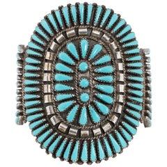 Zuni Sleeping Beauty Needle Point Turquoise Bracelet